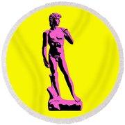 Michelangelos David - Punk Style Round Beach Towel by Pixel Chimp
