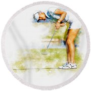 Michelle Wie Of Usa Putting At The  Lpga Lotte Championship  Round Beach Towel