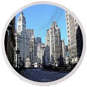Michigan Ave Wide Round Beach Towel