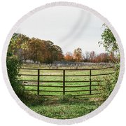 Michigan Farm And Fence  Round Beach Towel