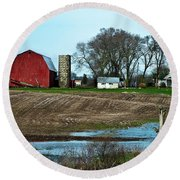 Michigan Farm Round Beach Towel