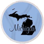 Michigan In Black Round Beach Towel