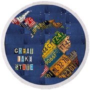 Michigan License Plate Map Great Lake State With Vintage Blue Plate Background Edition Round Beach Towel