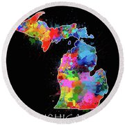 Michigan Map Color Splatter 2 Round Beach Towel