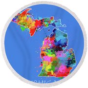 Michigan Map Color Splatter 3 Round Beach Towel