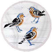 Michigan Robins State Bird Recycled Vintage License Plate Art On White Barn Wood Round Beach Towel