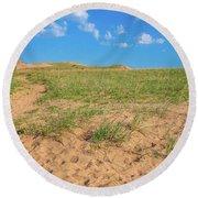 Michigan Sand Dune Landscape In Summer Round Beach Towel