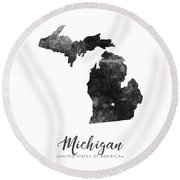 Michigan State Map Art - Grunge Silhouette Round Beach Towel