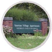 Michigan State University Spartan Village Signage Round Beach Towel