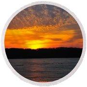 Michigan Sunset Round Beach Towel