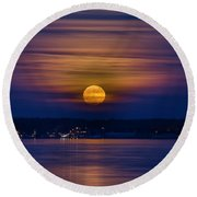 Michigan Super Moon Over Muskegon Lake Round Beach Towel