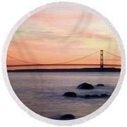 Michigan's Mackinac Bridge Round Beach Towel