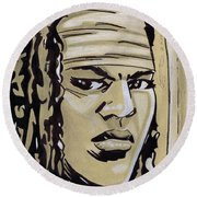 Michonne Round Beach Towel