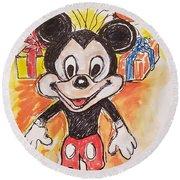 Mickey Mouse 90th Birthday Celebration Round Beach Towel