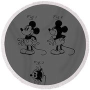 Mickey Mouse Character Figure Patent 1929 Round Beach Towel