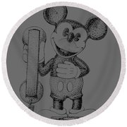 Mickey Mouse Novelty Phone Patent 1978 Round Beach Towel