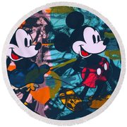 Mickey Mouse Vs. Minnie Mouse Stage On Round Beach Towel