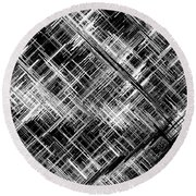 Micro Linear Black And White Round Beach Towel