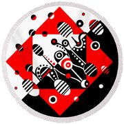 Microgravity - Red And Black Round Beach Towel