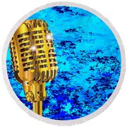 Microphone On Blues Fire Round Beach Towel