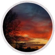Mid-january Sunset Round Beach Towel