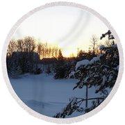 Mid January Winter Sunrise Round Beach Towel by Kent Lorentzen