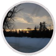 Mid March Sunrise Over Mississippi River Round Beach Towel