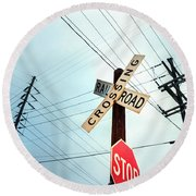 Mid West Crossroad, Usa Round Beach Towel