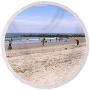 Midday At Venice Beach Round Beach Towel
