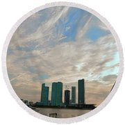 Midday In Miami 2 Round Beach Towel
