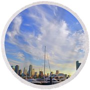 Midday In Miami Round Beach Towel