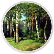 Midday Warmth In A Forest Impressionism Round Beach Towel
