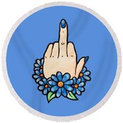 Middle Finger Round Beach Towel