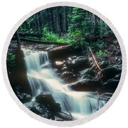 Middle Fork Red River Falls Round Beach Towel