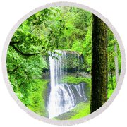 Middle North Falls 5 Round Beach Towel