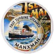 Midland Railway, Steam Boat, Isle Of Man, Poster Round Beach Towel