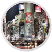 Midnight At Shibuya Round Beach Towel
