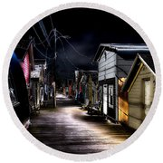 Midnight At The Boathouse Round Beach Towel
