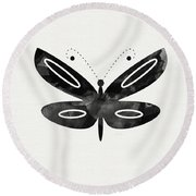 Midnight Butterfly 1- Art By Linda Woods Round Beach Towel