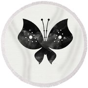 Midnight Butterfly 2- Art By Linda Woods Round Beach Towel