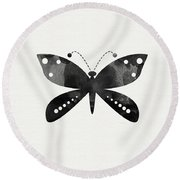 Midnight Butterfly 4- Art By Linda Woods Round Beach Towel by Linda Woods