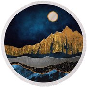 Midnight Desert Moon Round Beach Towel