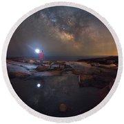 Midnight Explorer Mirror Finish Round Beach Towel