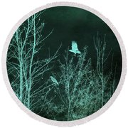 Midnight Flight Silhouette Teal Round Beach Towel