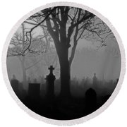 Midnight Graveyard Fog Round Beach Towel