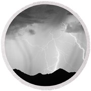 Midnight Hour Black And White Round Beach Towel