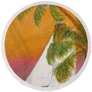 Midnight In The Gulf Of Mexico Round Beach Towel