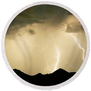 Midnight Lightning Storm Round Beach Towel