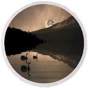 Midnight Moods Swan Lake In The Moonlight Round Beach Towel