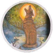 Midnight Mountain Majic 3 Round Beach Towel